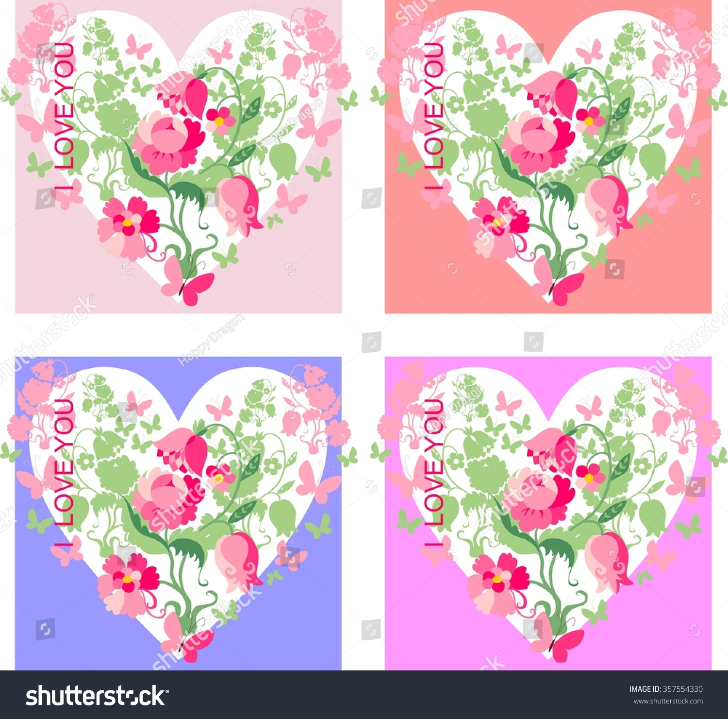 Set love cards beautiful hearts flowers stock vector 357554330 beautiful hearts with flowers and butterflies for valentines day vector izmirmasajfo