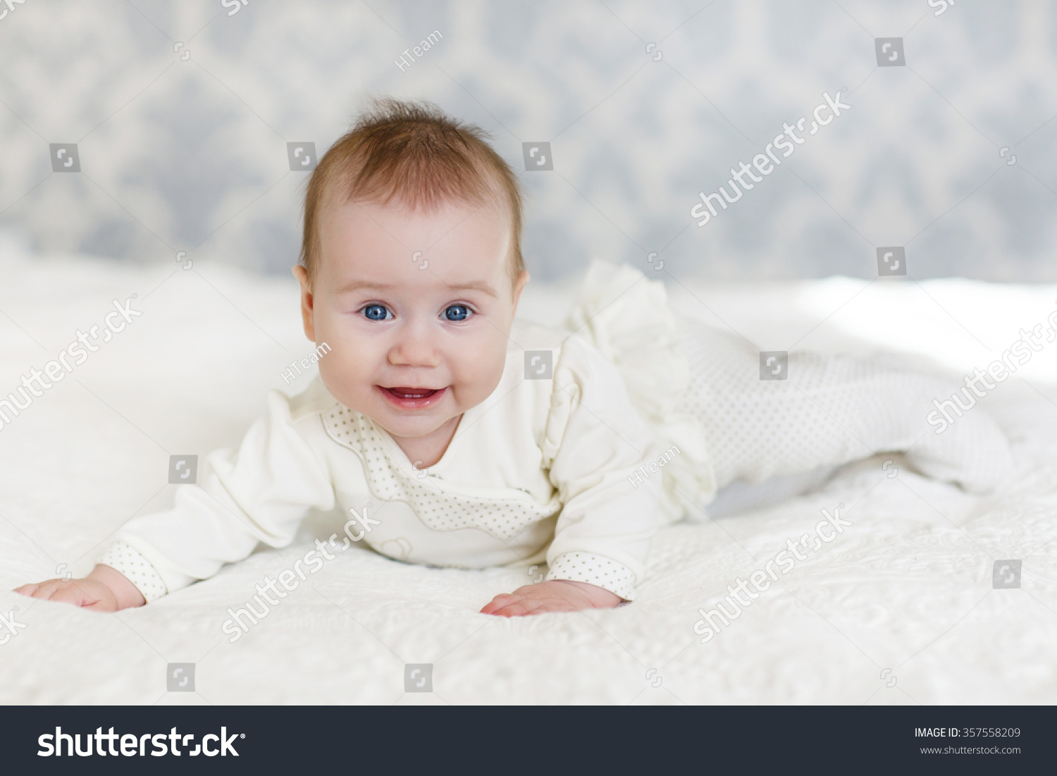 Portrait Cute 3 Months Baby Lying Stock Photo Edit Now 357558209