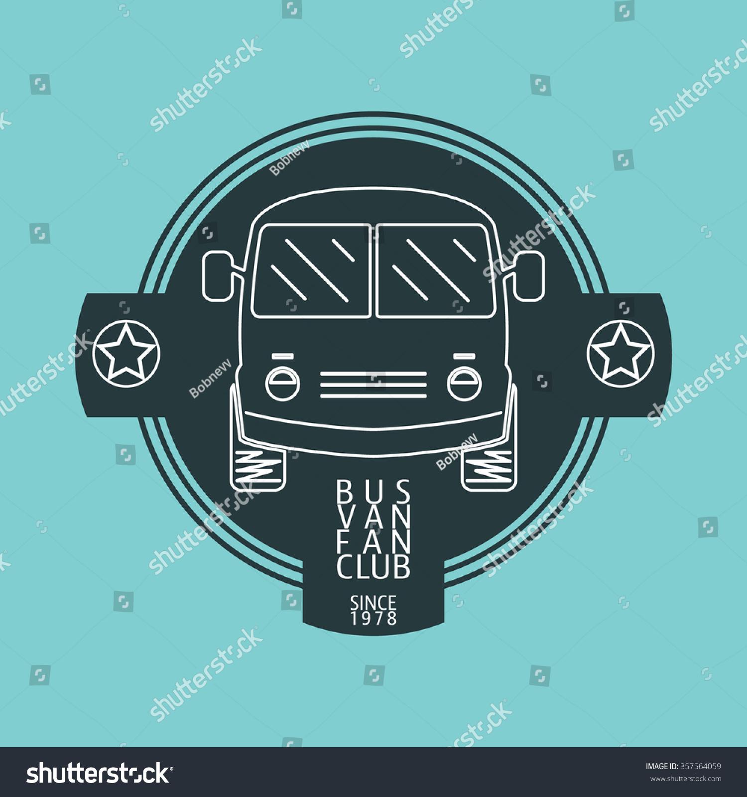 Design car club logo - Bus Van Fan Club Logo Template Vintage Bus For Insignia Labels Emblems