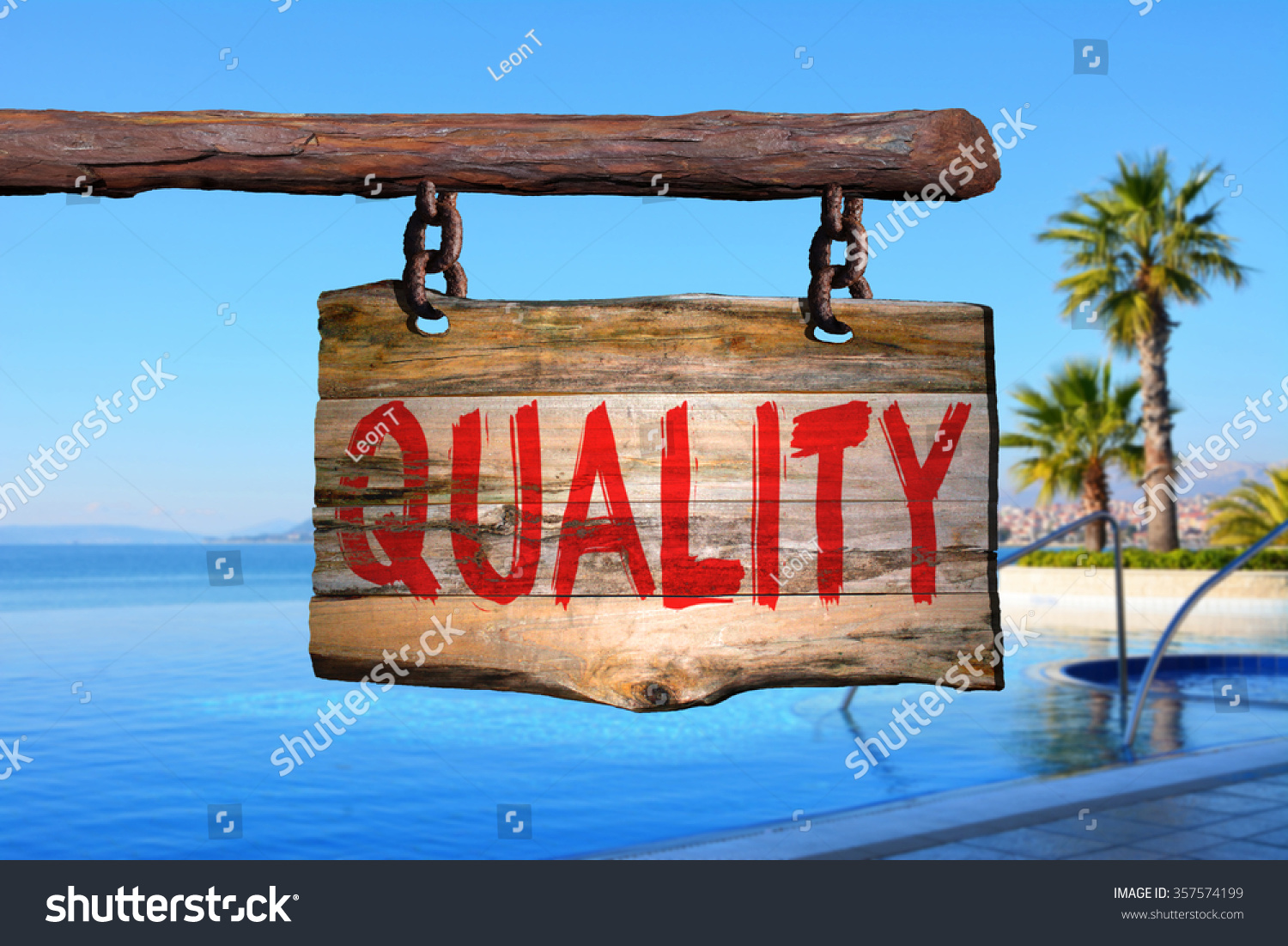 Quality motivational phrase sign on old wood with blurred background #357574199