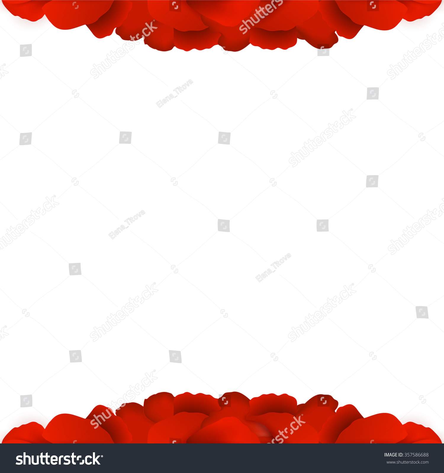 Red gift bows border with clipping path for easy background removing - Rose Petals Border