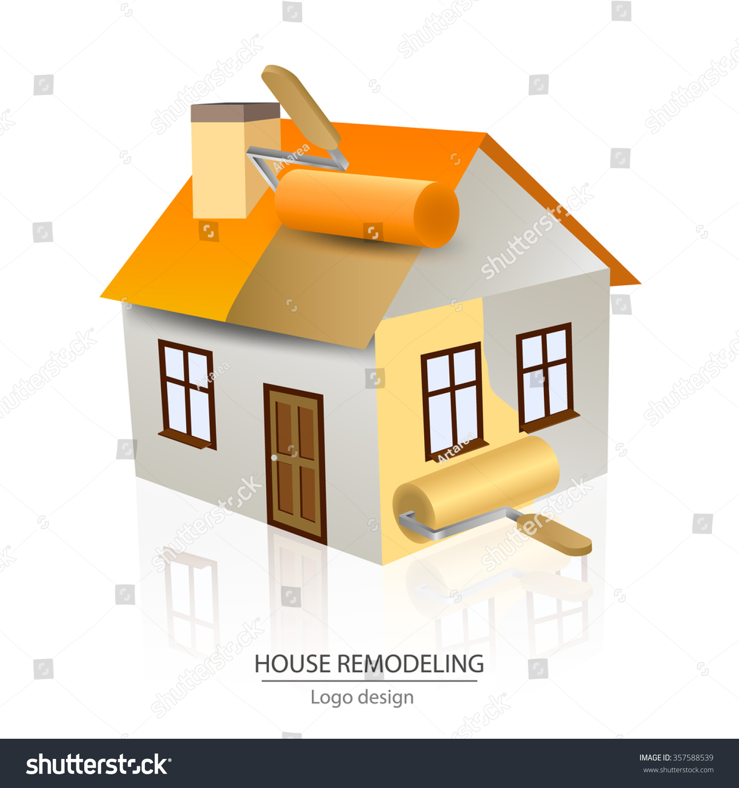 House Remodeling Logo Design Paint Roller Stock Vector