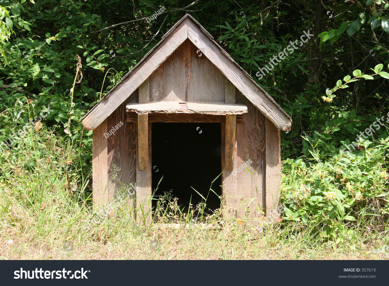 old fashioned wooden dog house sitting stock photo 357619