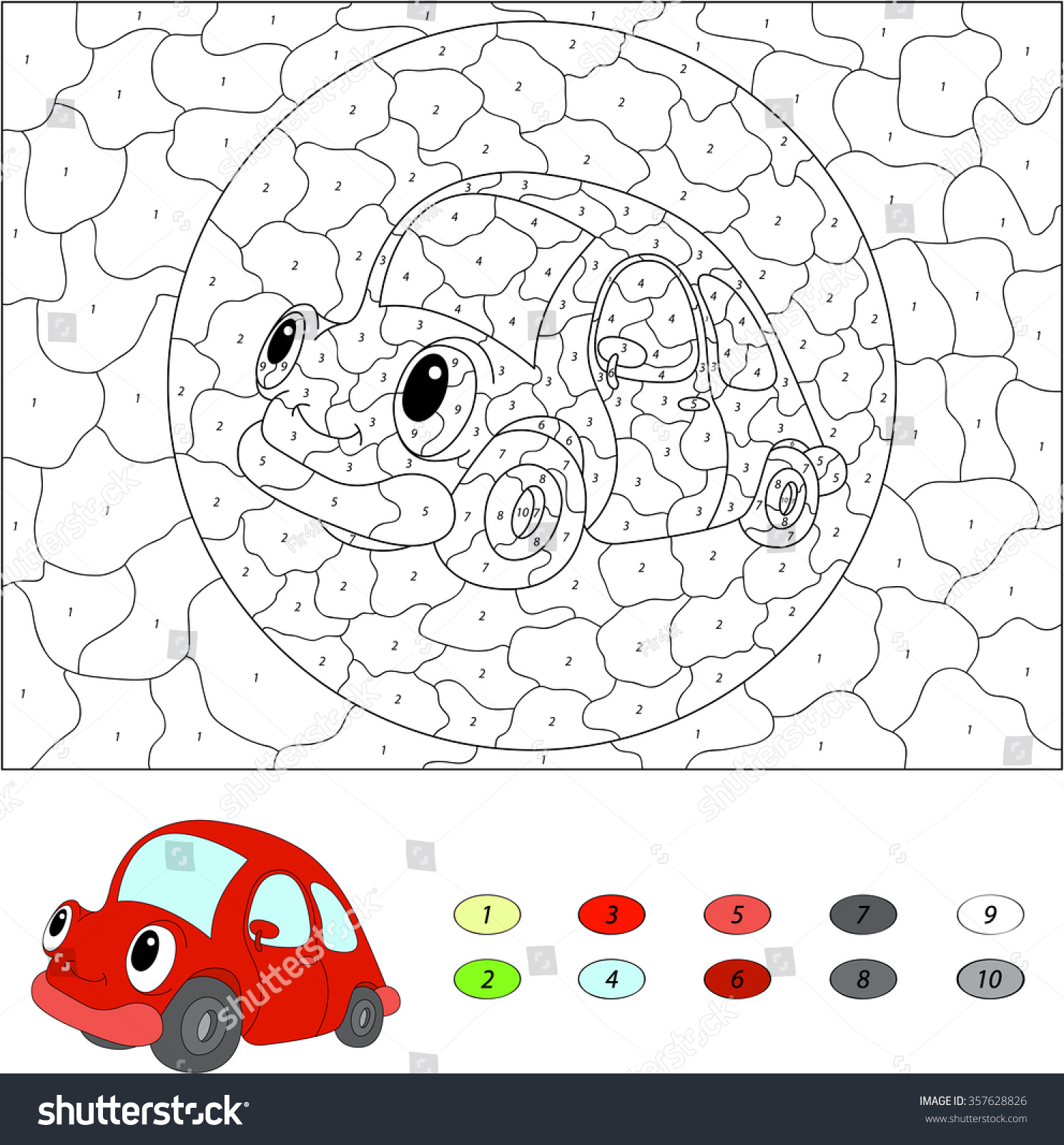 Color car number - Color By Number Educational Game For Kids Cartoon Red Car Vector Illustration For Schoolchild