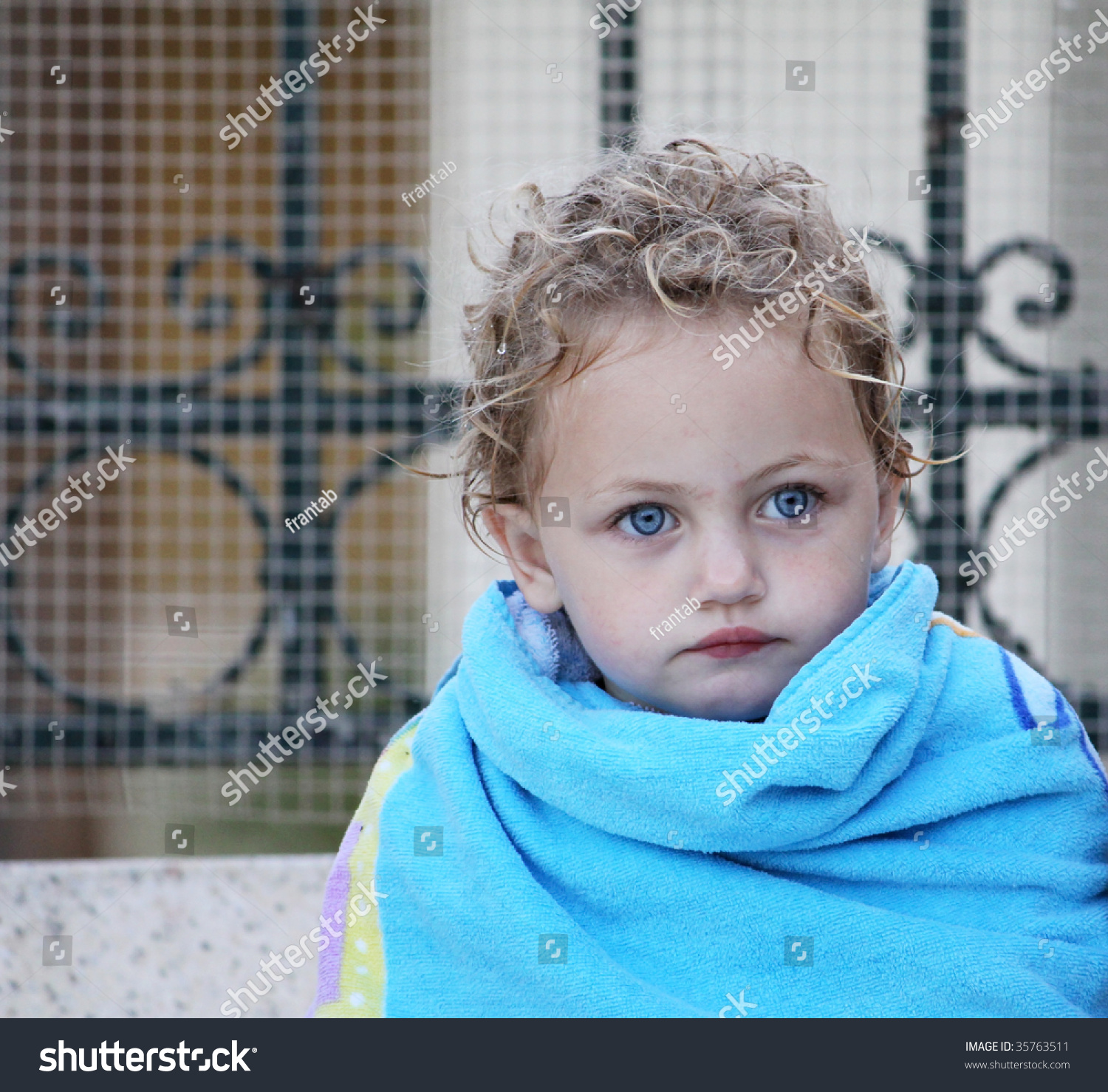 Young Caucasian Child Blonde Hair Blue Stock Photo 35763511