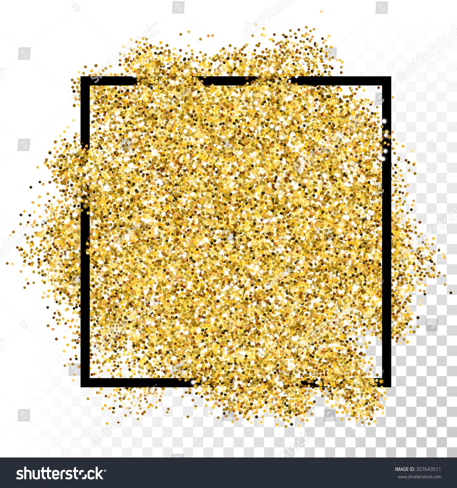 Vector Gold Glitter Background Border Frame Stock Vector