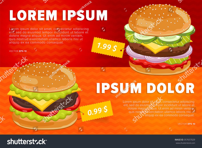 burger poster fast food menu design stock vector 357657029