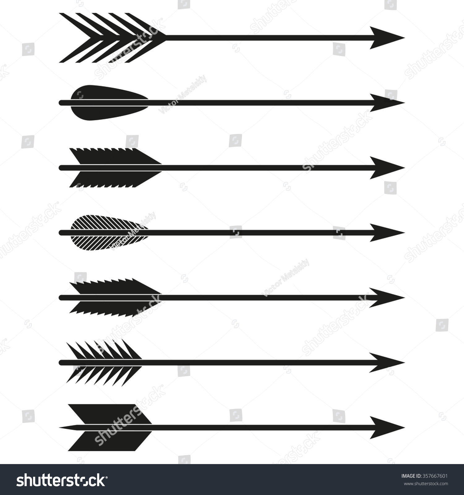 Arrows Set Bow Arrows Archer Symbol Stock Vector 357667601 ...