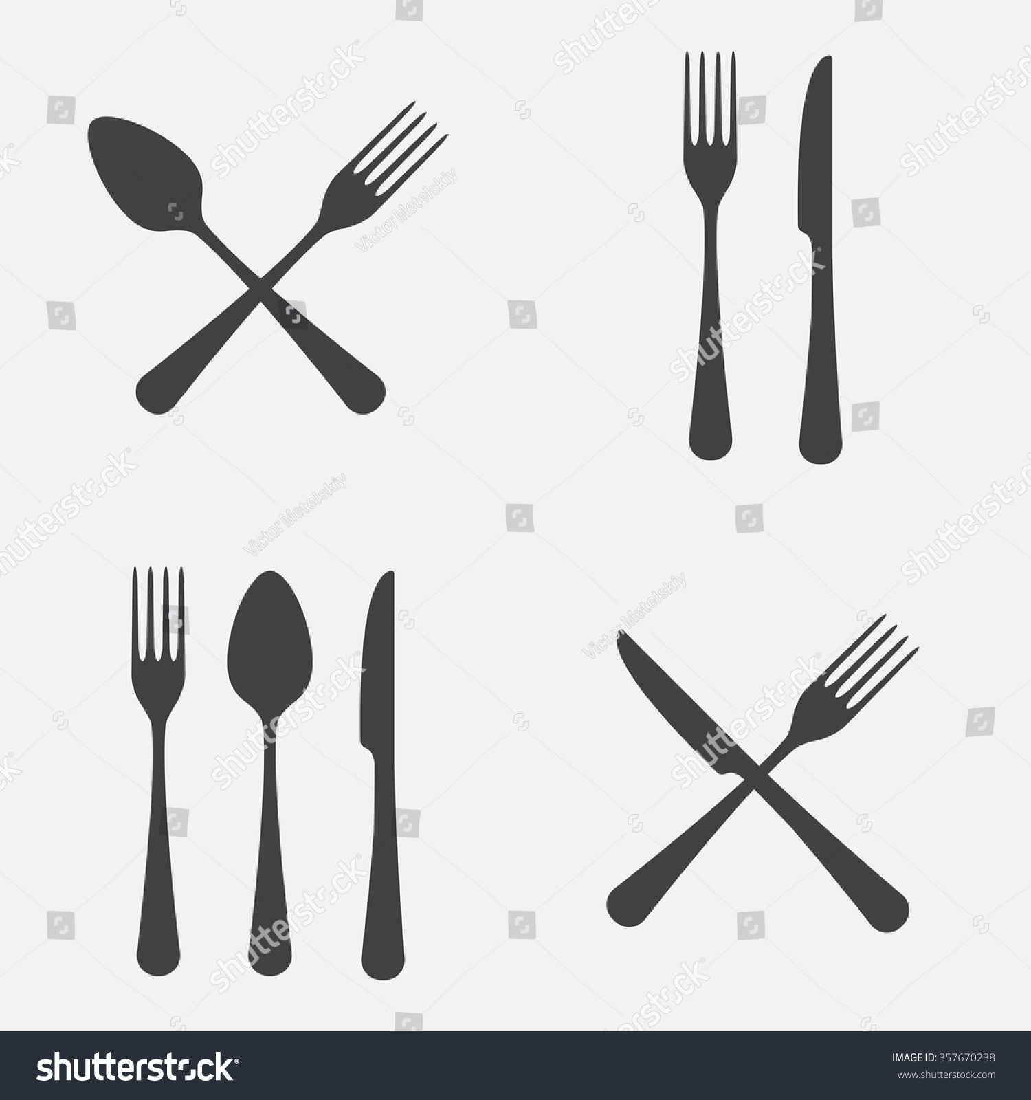 spoon fork knife icon set vector stock vector 357670238