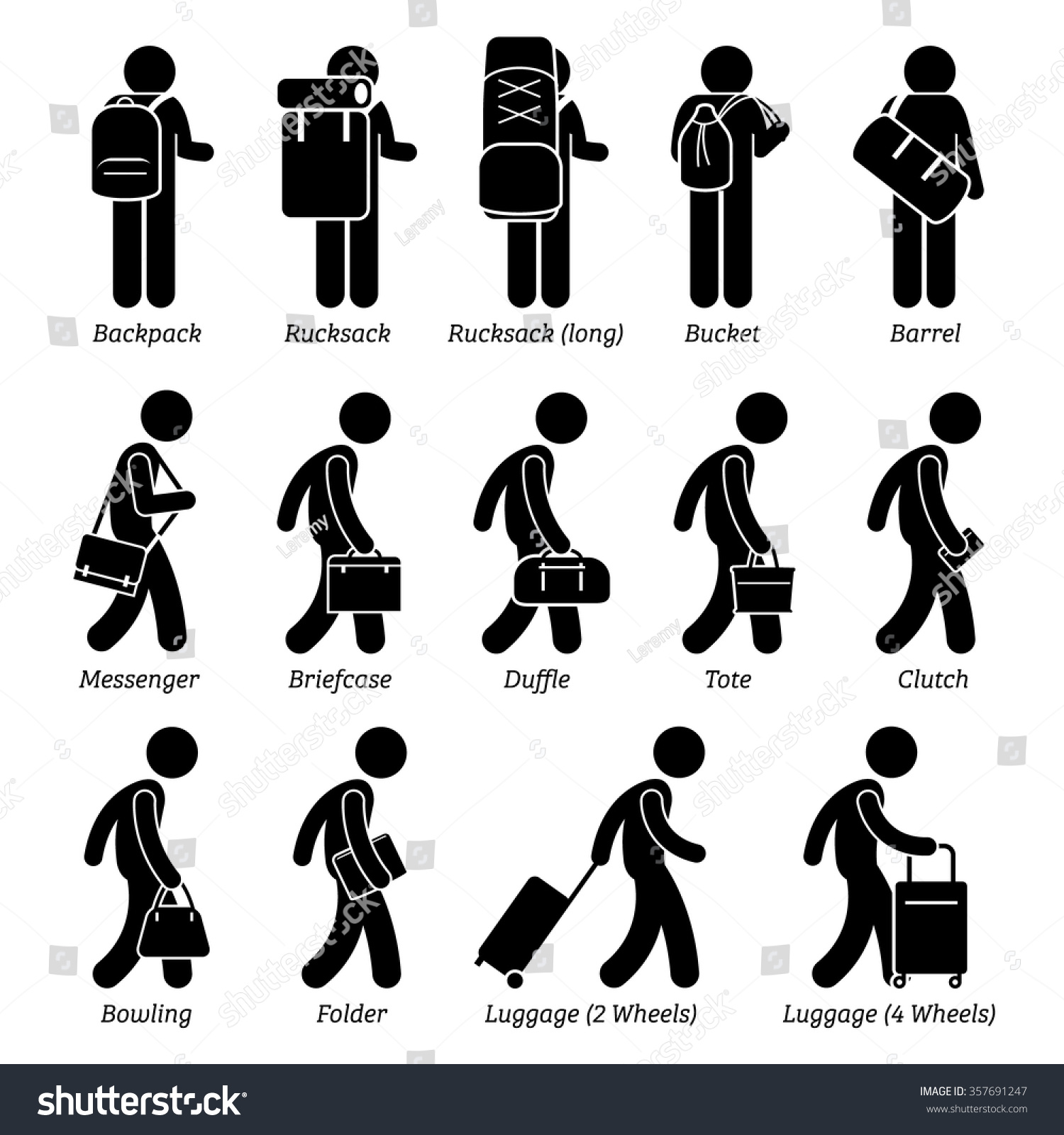 Type Man Male Bags Luggage Stick Stock Vector 357691247 - Shutterstock