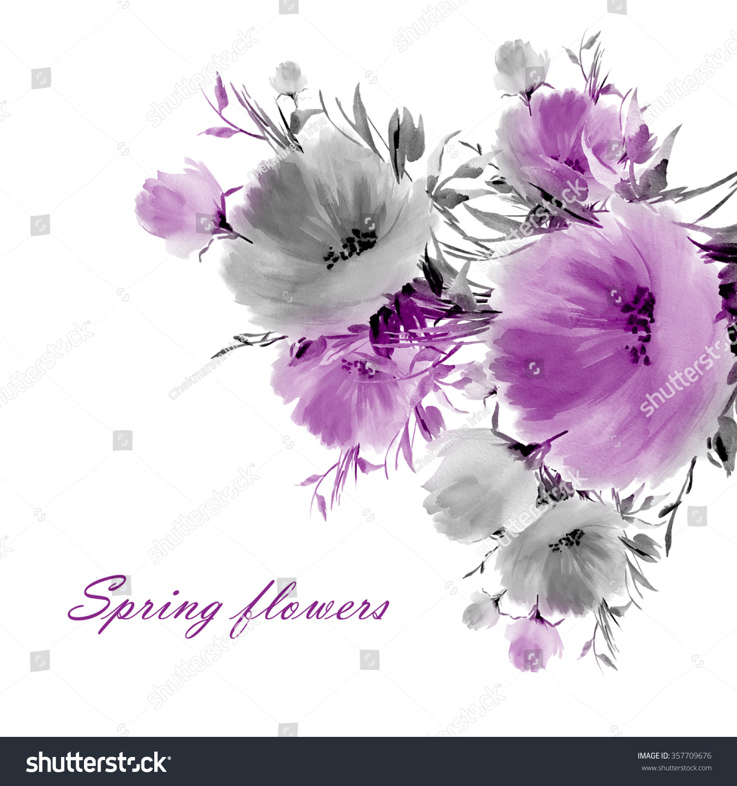 Floral Watercolor Spring Flowers Beautiful Floral Stock Illustration
