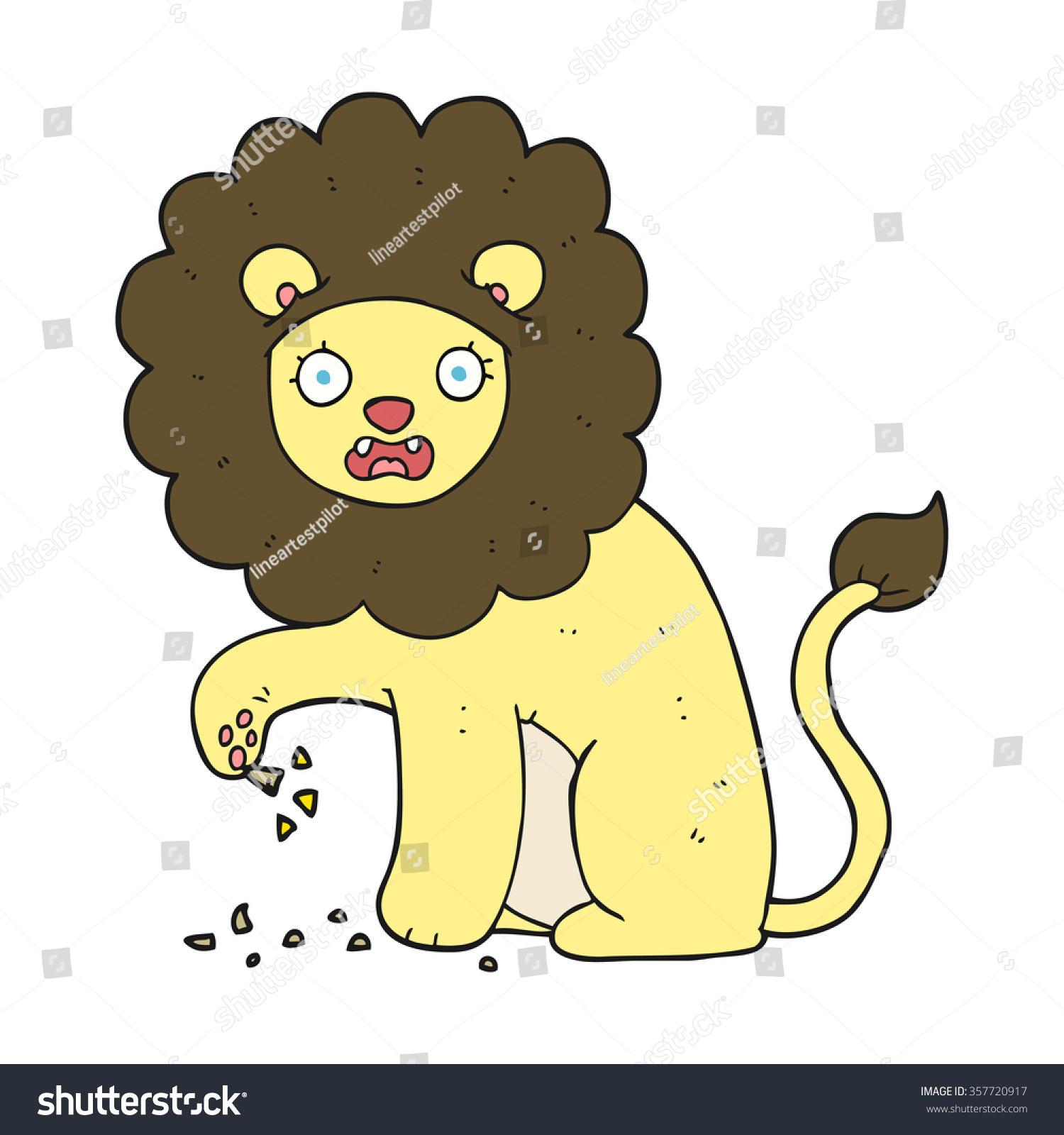 Freehand Drawn Cartoon Lion Thorn Foot Stock Illustration ...