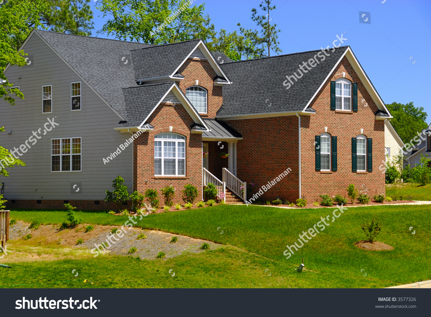Beautiful Colonial House Americal City Stock Photo 3577326