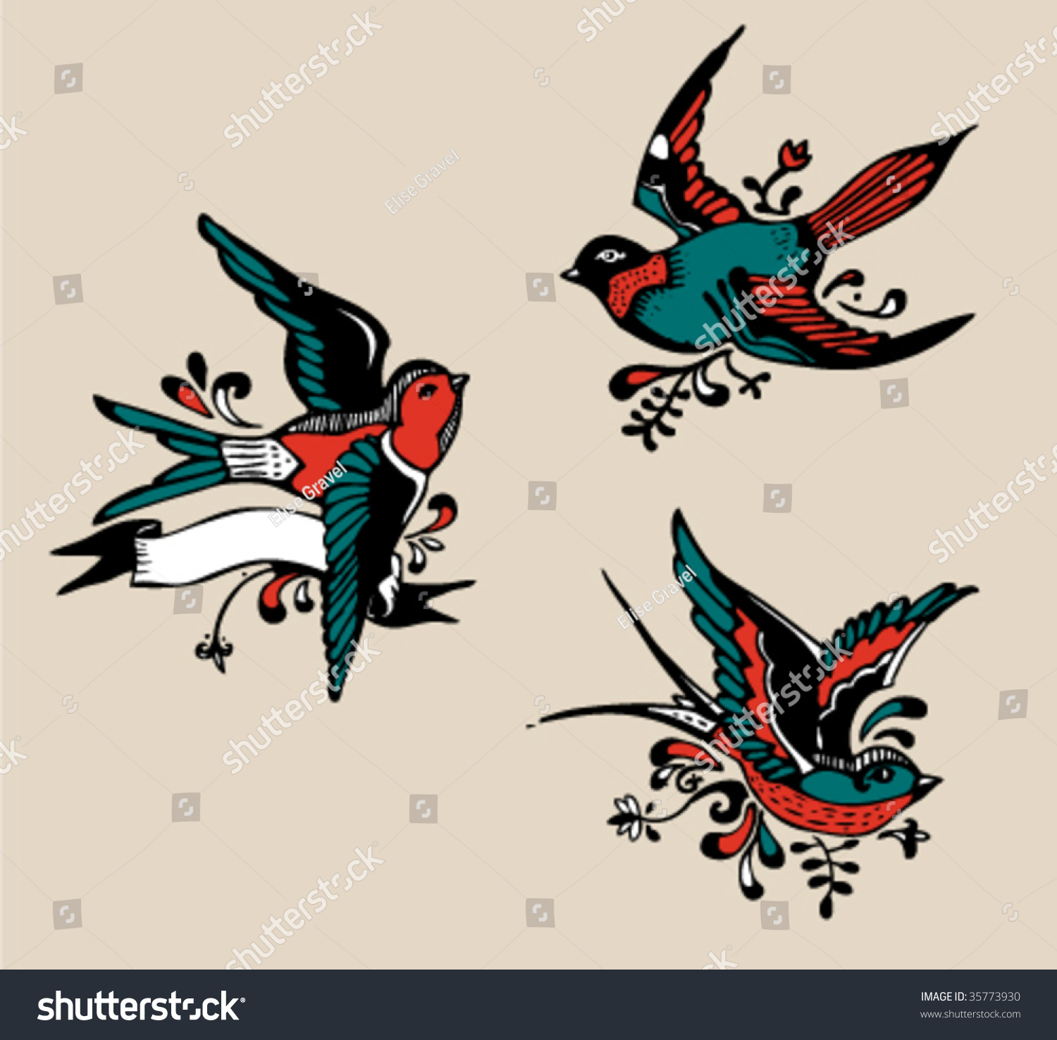 Birds Tattoos Illustrations: Tattoo Stock Vector Illustration 35773930