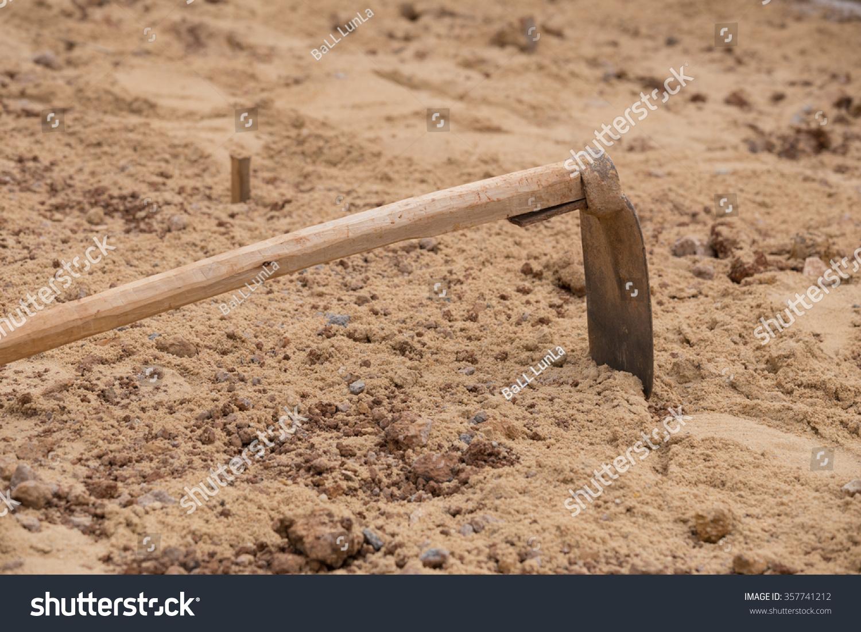Construction Site Soil : Soil hoe construction site stock photo