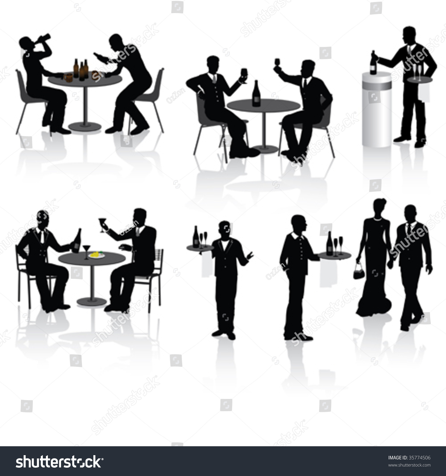 People Couples Waiters Restaurant Vector Illustration ...