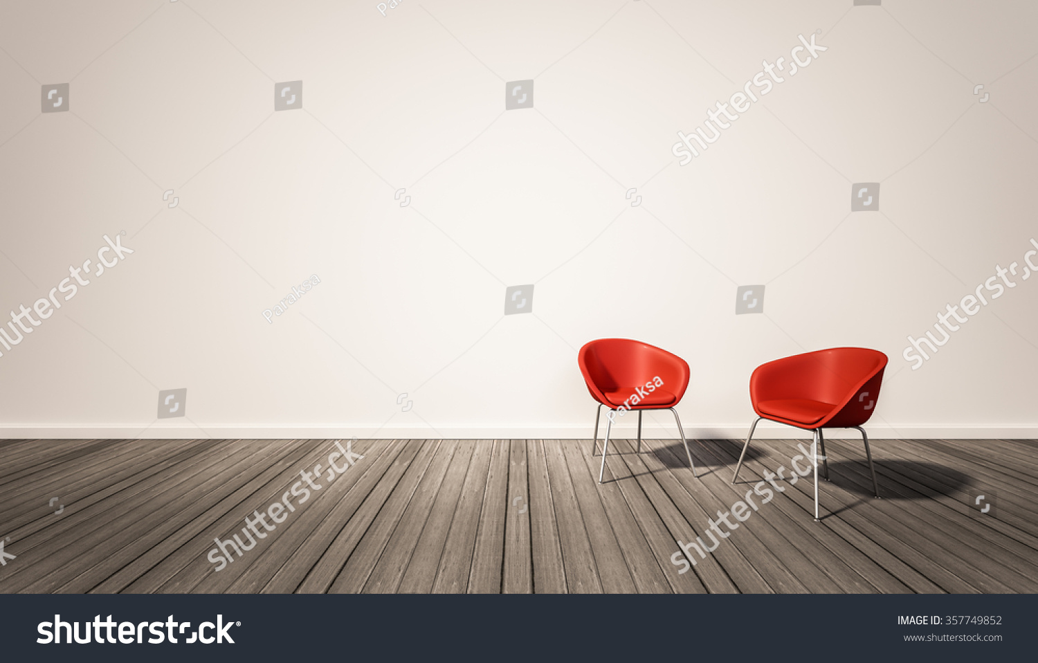 Hardwood Floor And White Wall, With Red Chairs, 3d Rendered