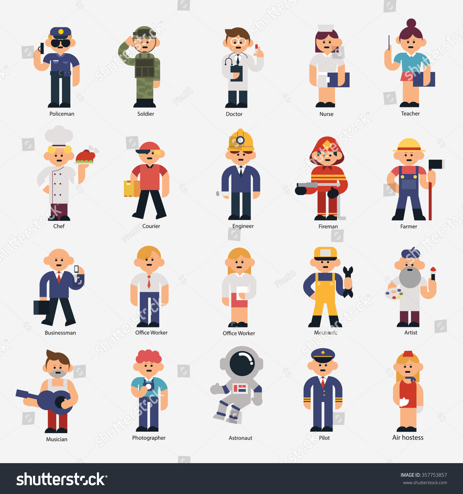 Carpenter Style House 20 Occupations Stock Vector 357753857 Shutterstock