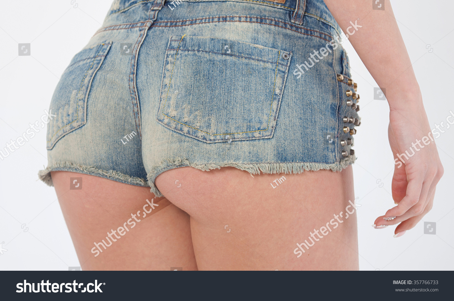 sexy woman body jean shorts models stock photo (100% legal