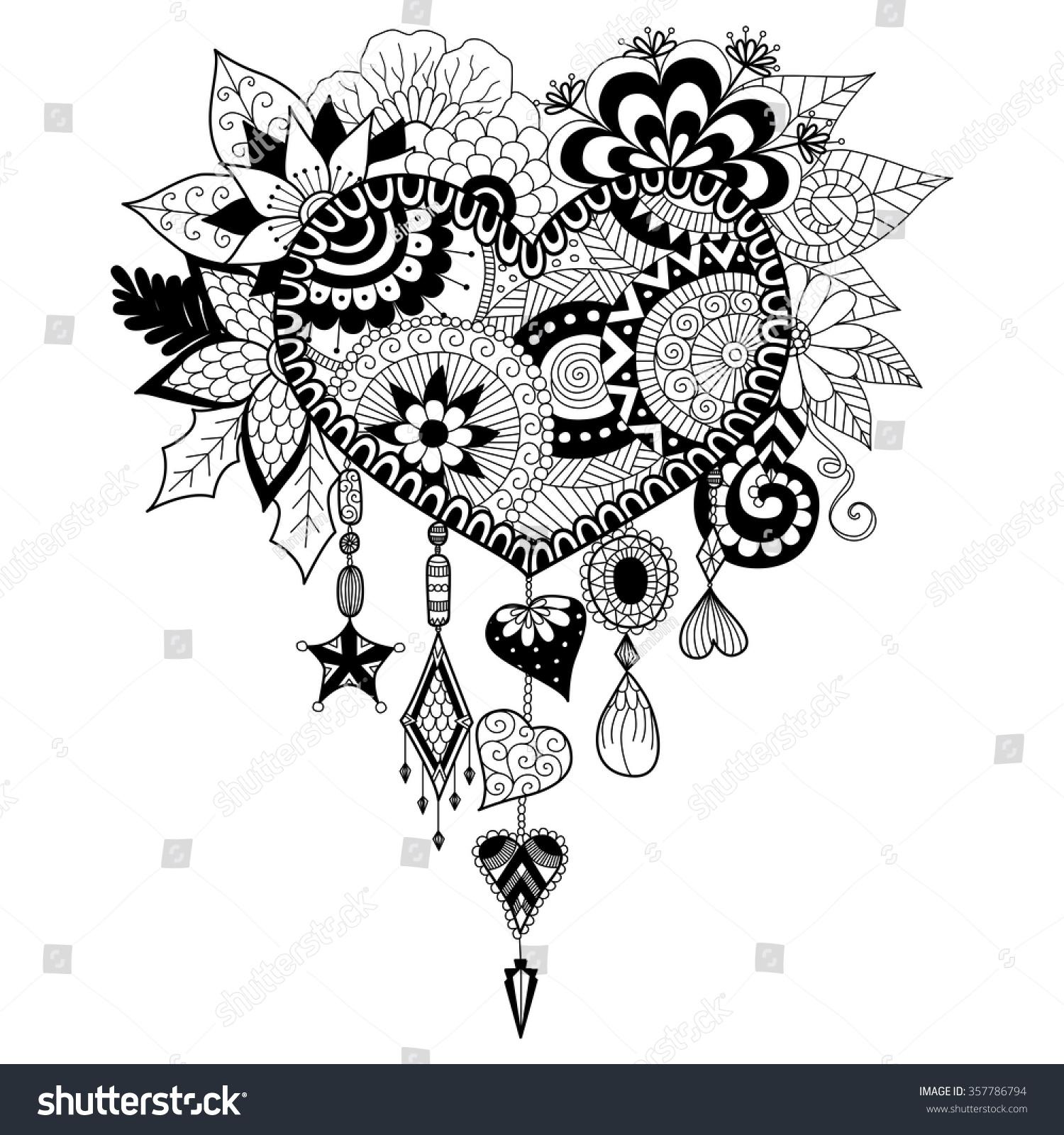 heart shape floral dream catcher coloring stock vector 357786794