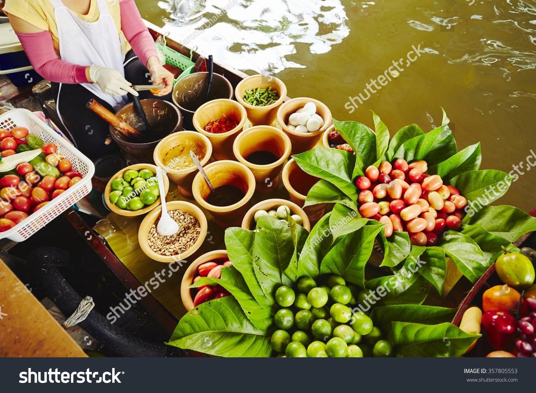 Cuisine on boat bangkok thailand stock photo 357805553 for Cuisine bangkok