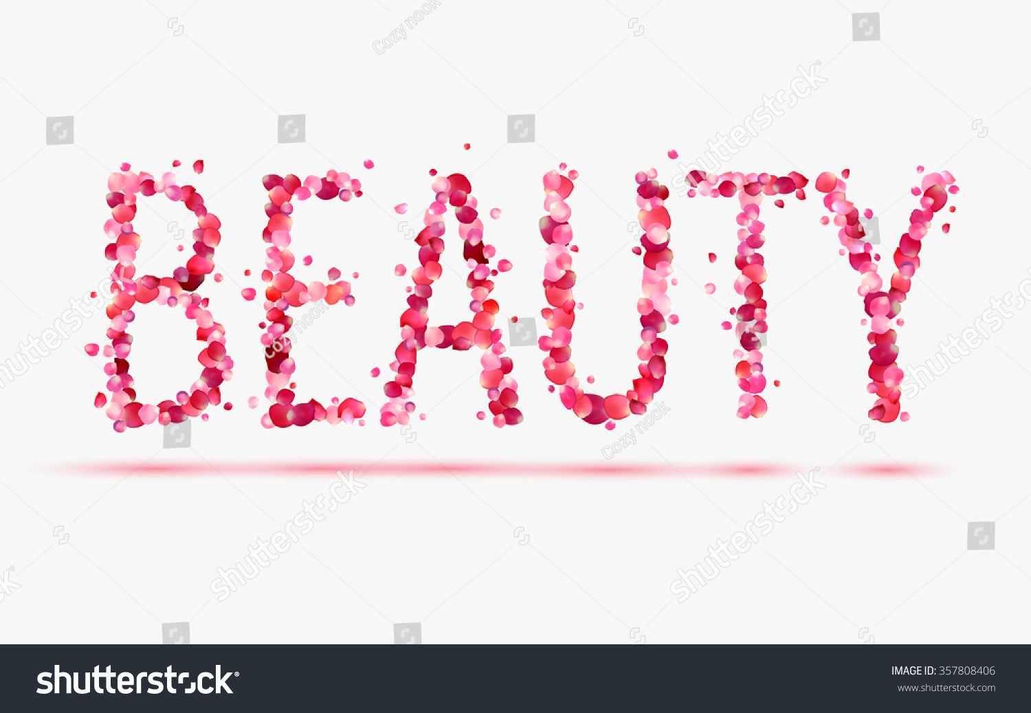 word beauty in pink rose petals stock vector illustration