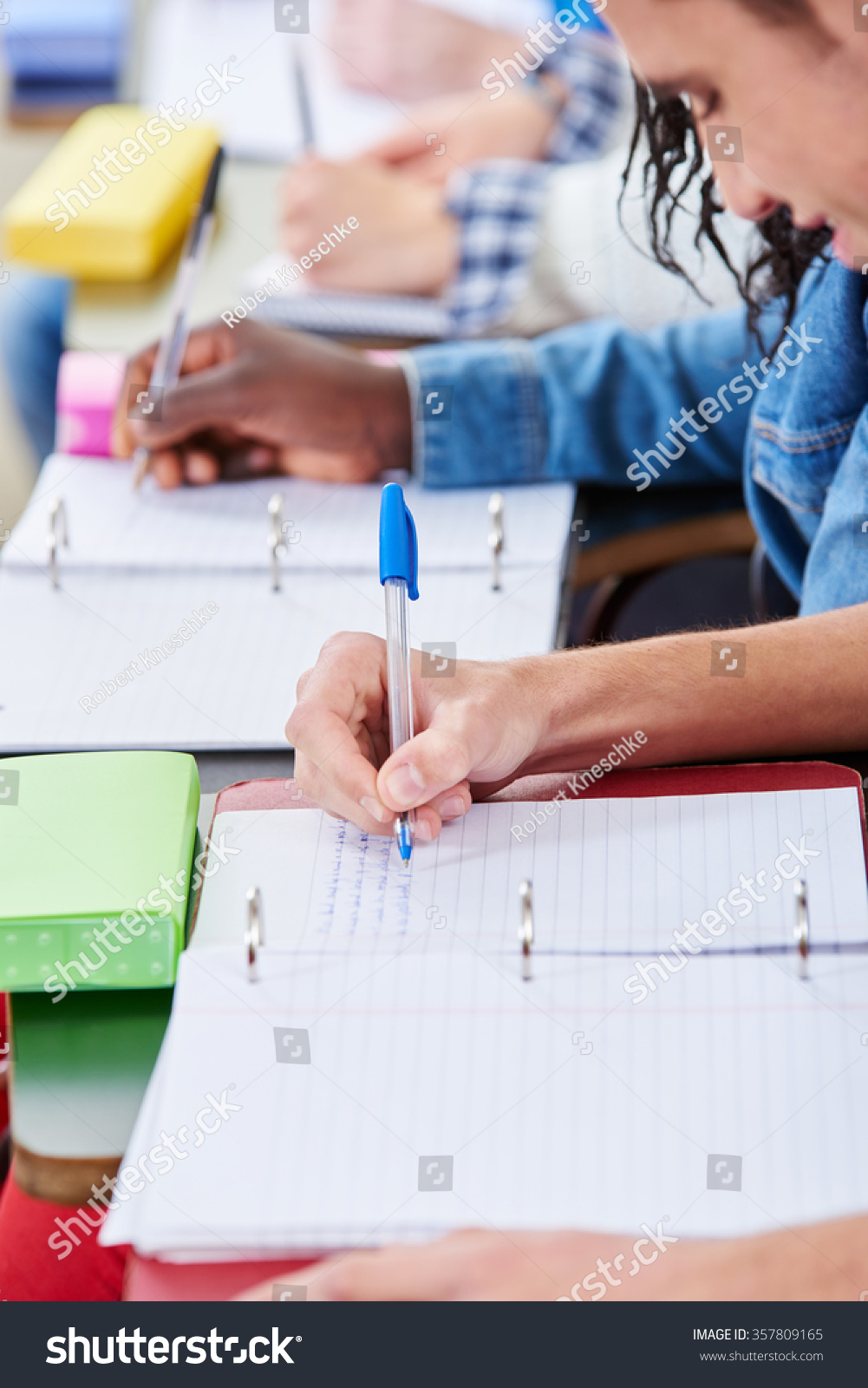 Students Taking Notes Class Their Notebooks Stock Photo ...