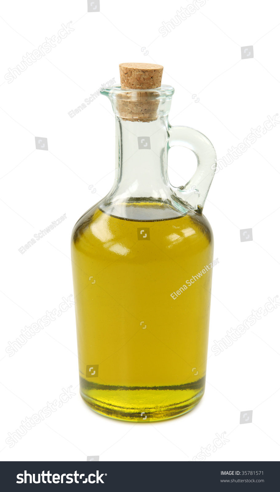 Bottle of olive oil on white background