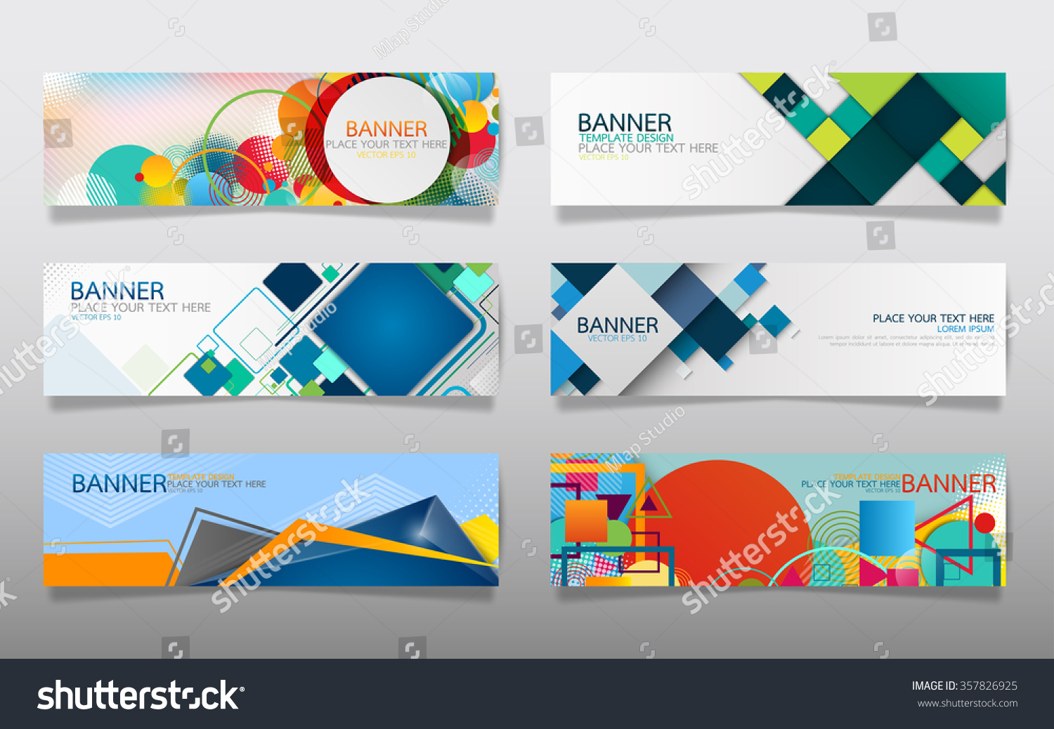 business banner design template vector geometric stock vector