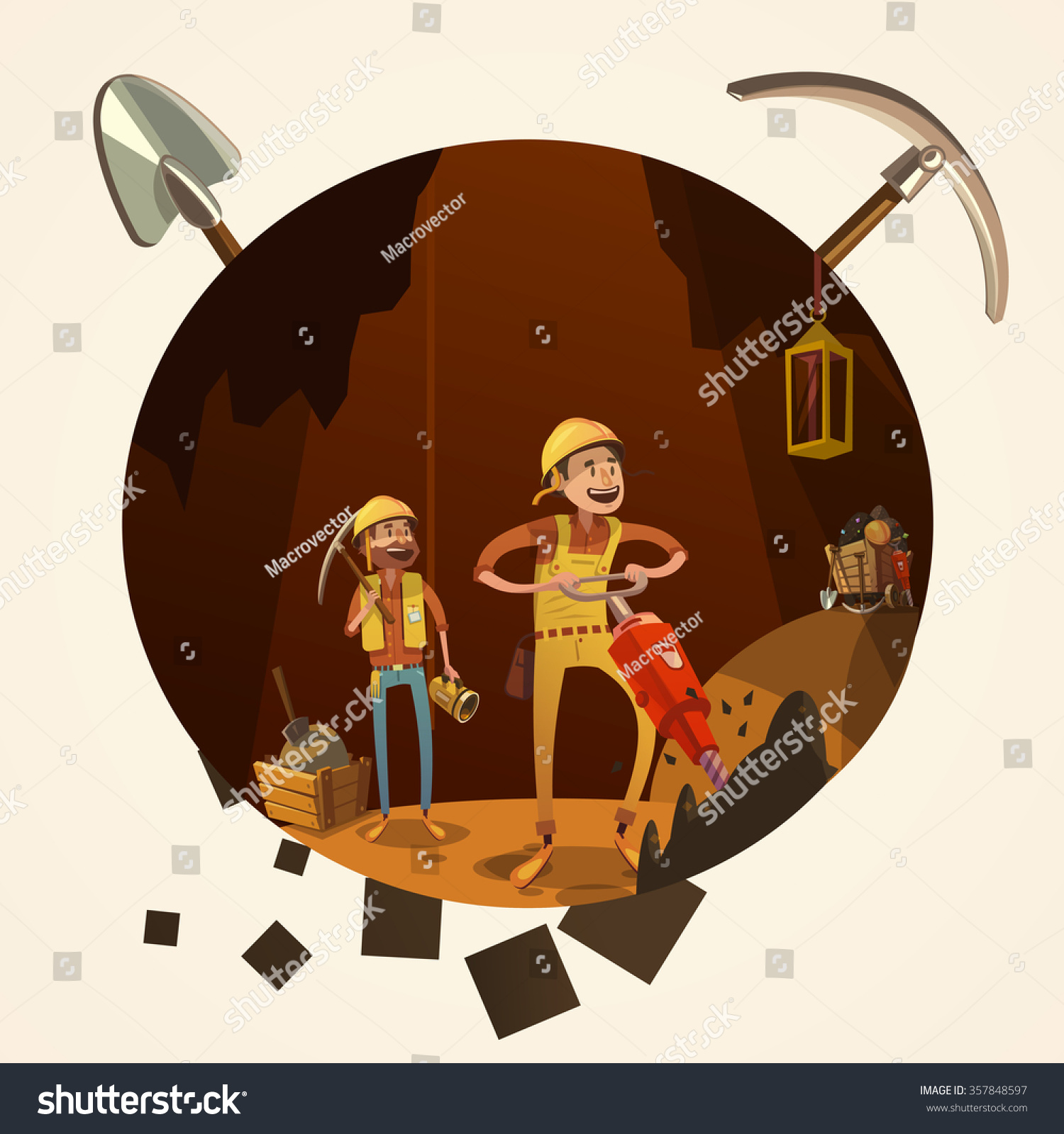 Mining Concept Manual Workers Mine Drilling Stock Vector ...