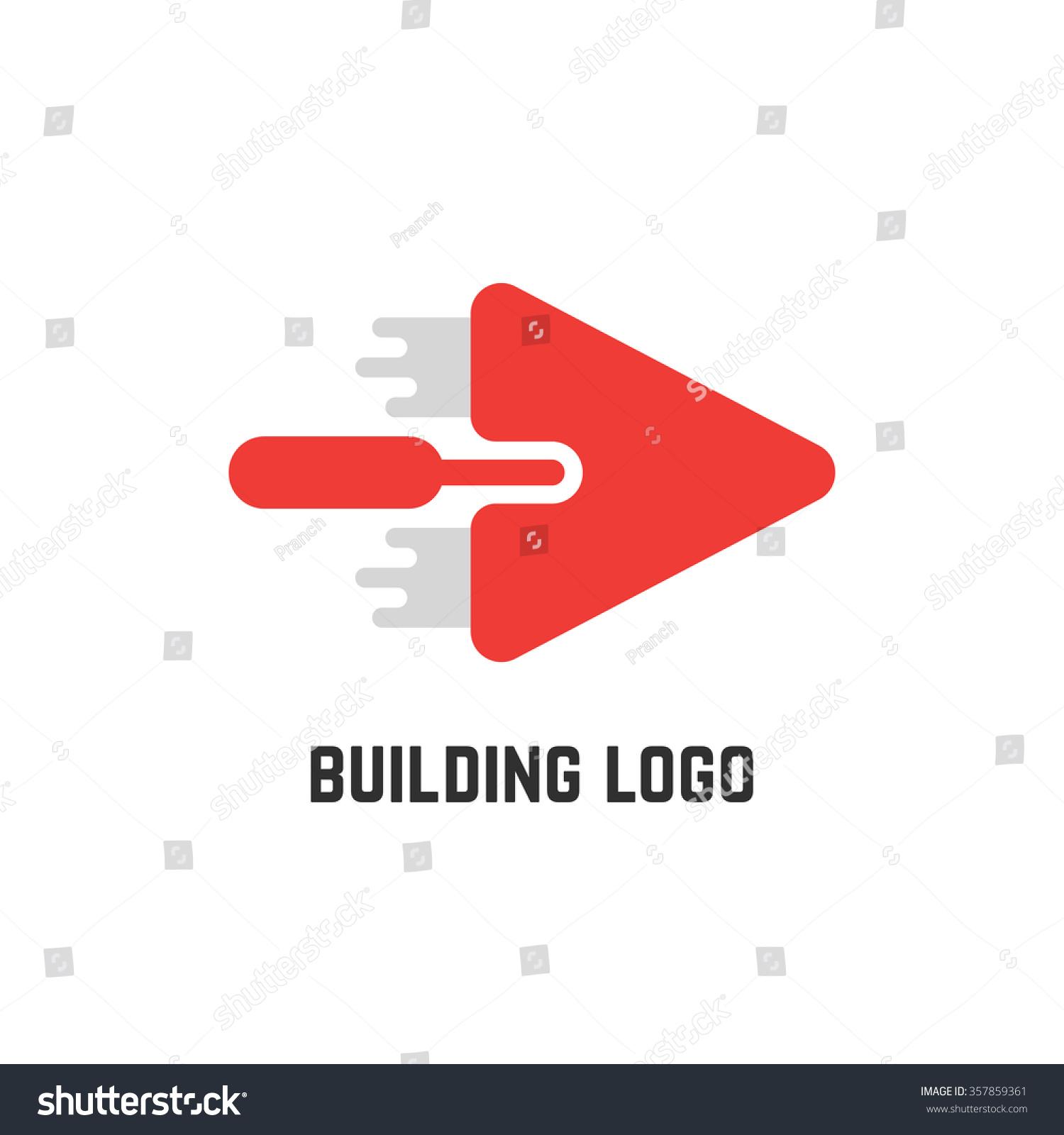 Masonry Trowel Logo : Building logo red trowel concept implement stock vector