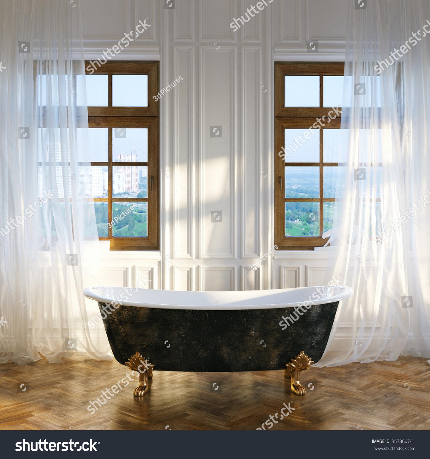 Big Bathroom Vintage Iron Bathtub Center Stock Illustration