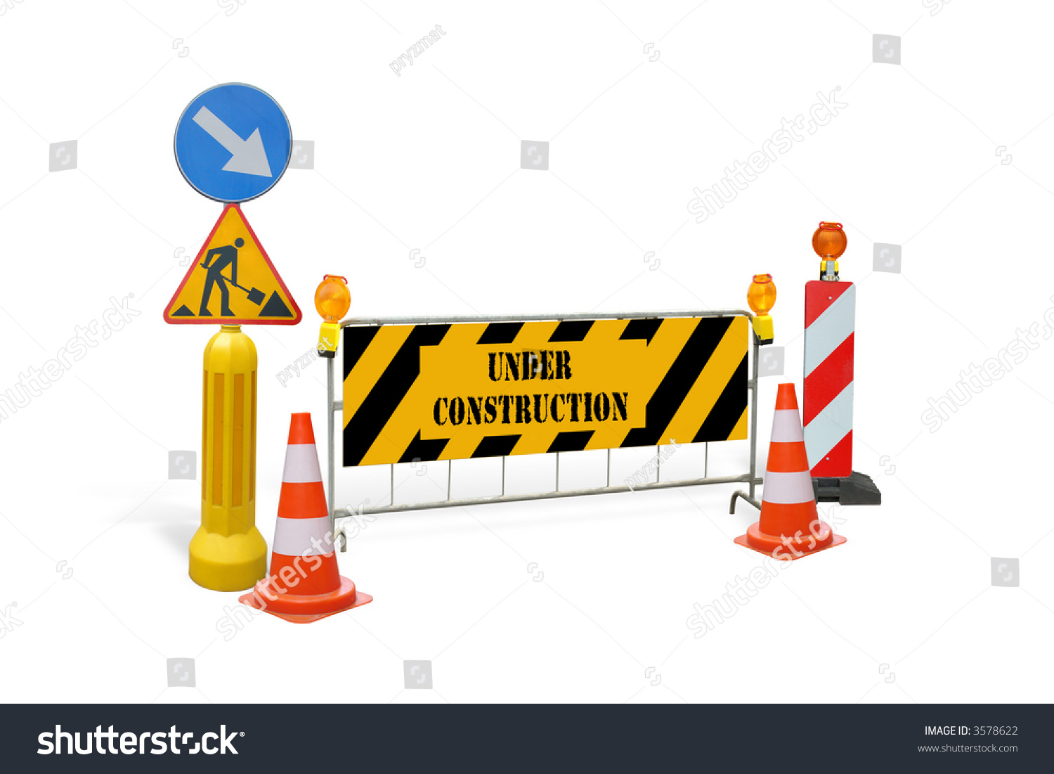 Group road construction warning signs barriers stock photo
