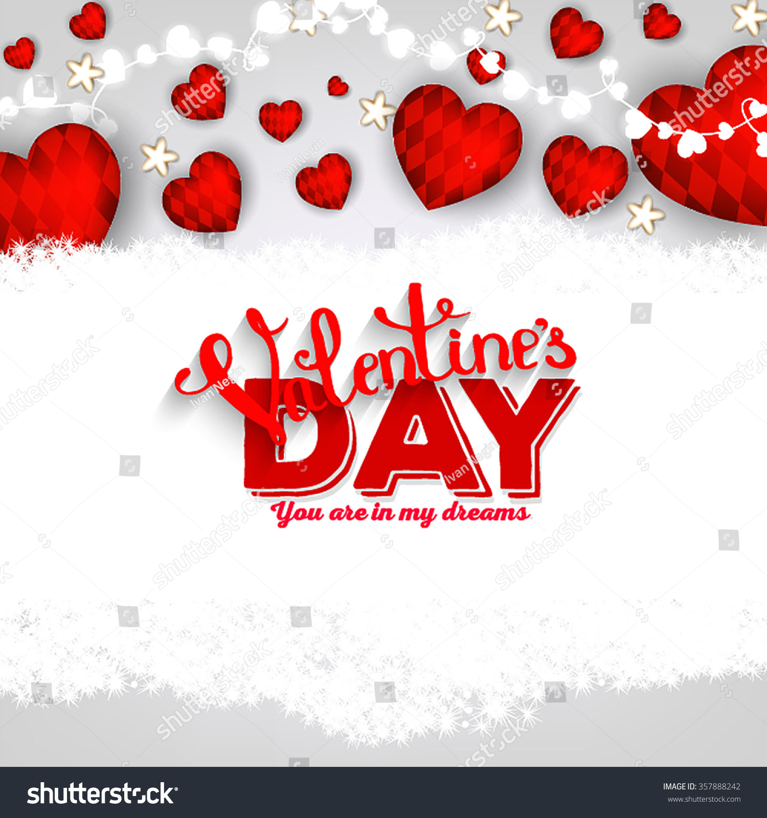Valentines Day Party Invitation Hearts Garland Stock Vector HD ...