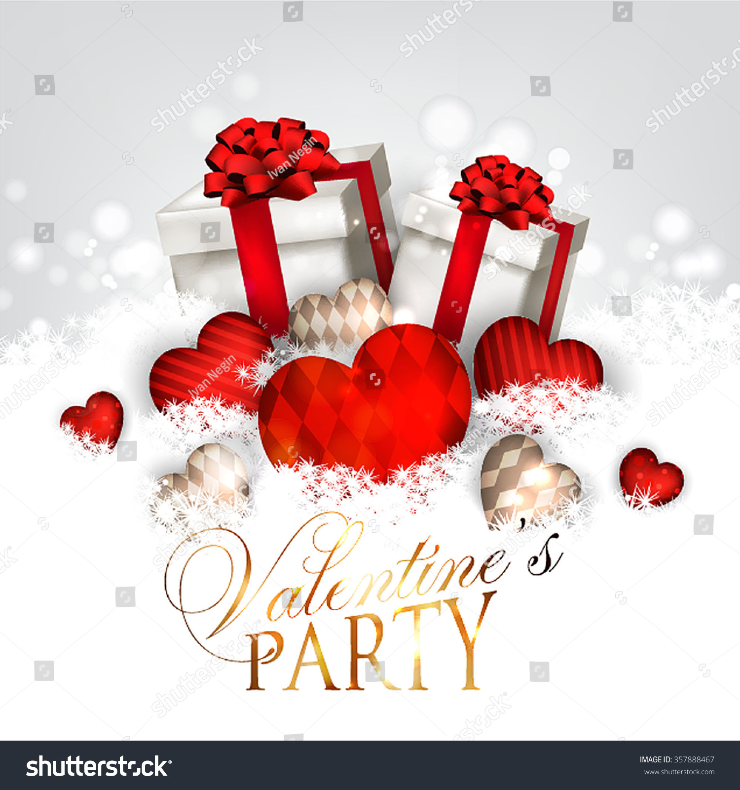 Valentines Day Party Invitation Gift Box Stock Vector 357888467 ...