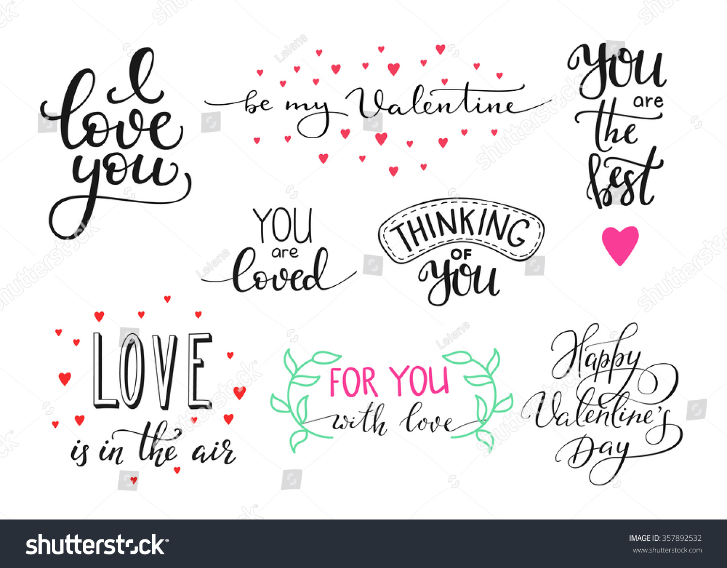 Romantic valentines day lettering set calligraphy stock