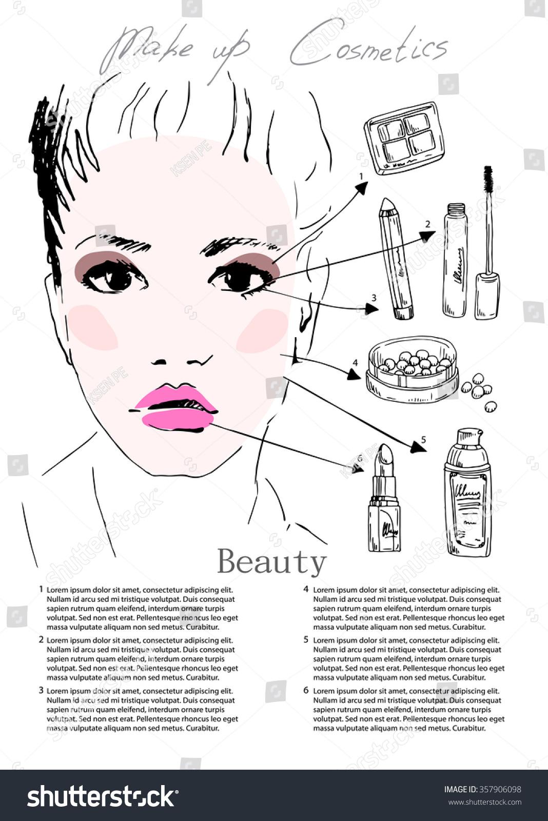 Beautiful Woman Face, Sketch, Hand Draw, Makeup Artist Face Chart