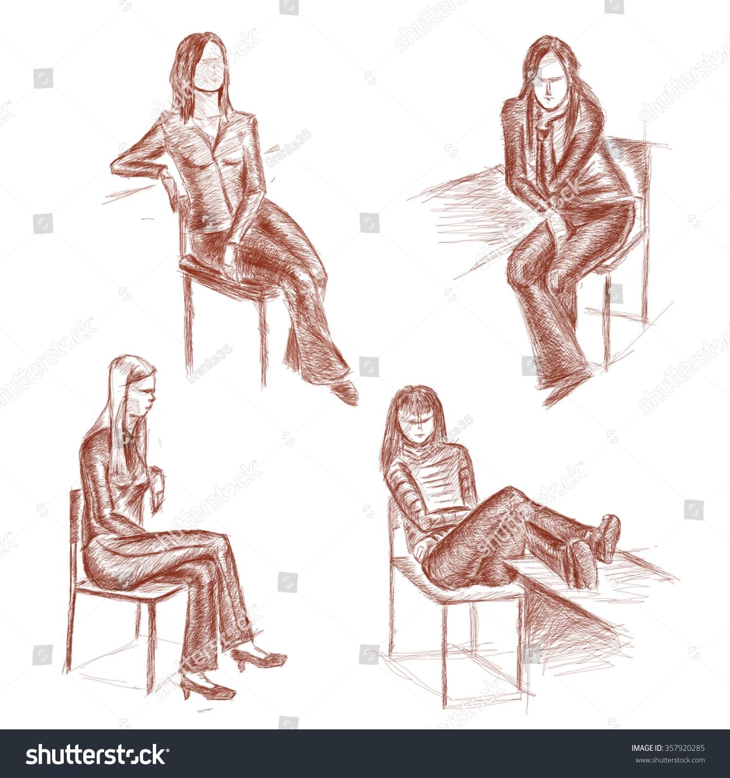 Pencil drawing of four girls sitting on chairs