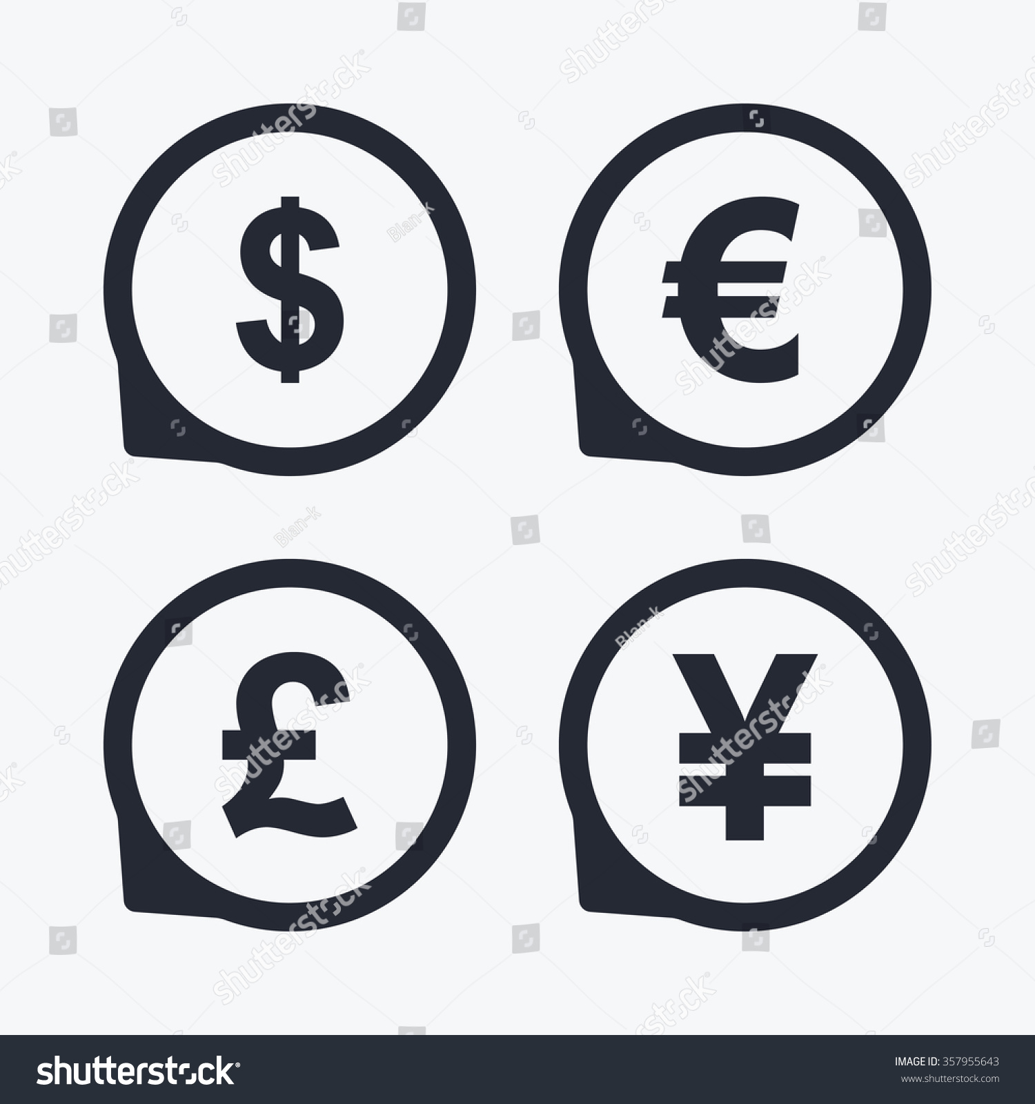 Dollar euro pound yen currency icons stock illustration 357955643 dollar euro pound and yen currency icons usd eur gbp and biocorpaavc Gallery