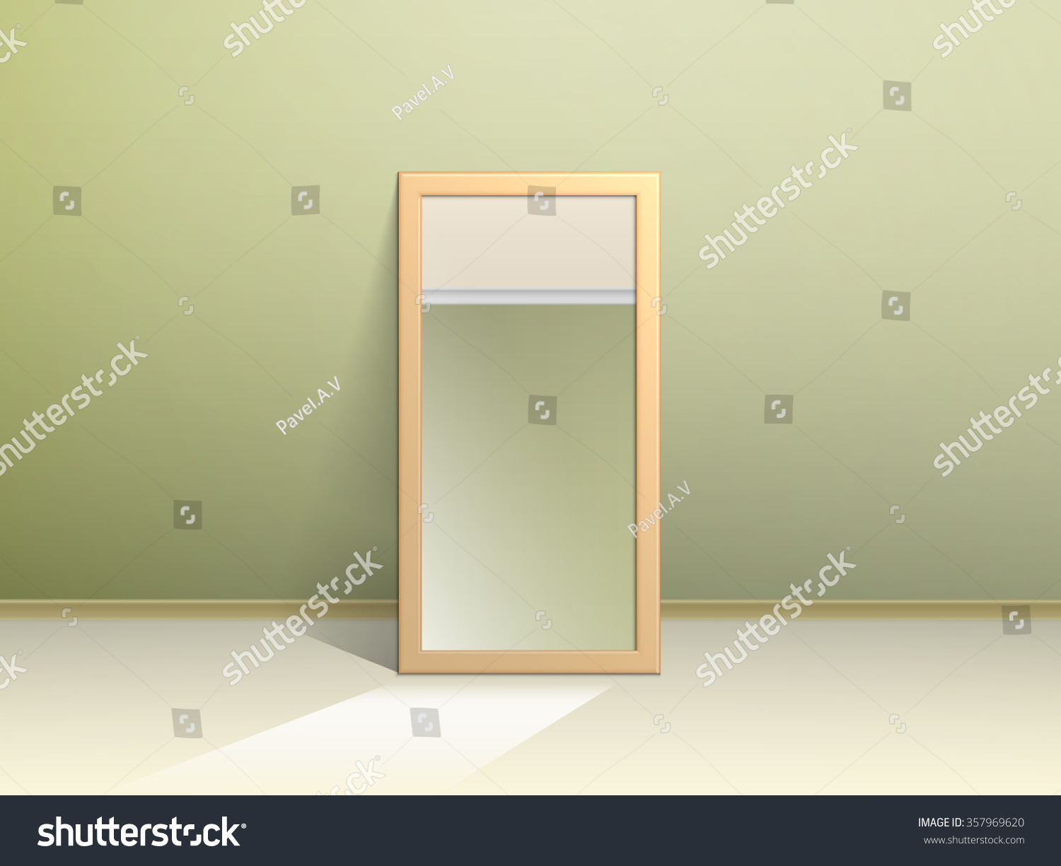 Mirror on floor reflects opposite wall stock vector for Opposite of floor
