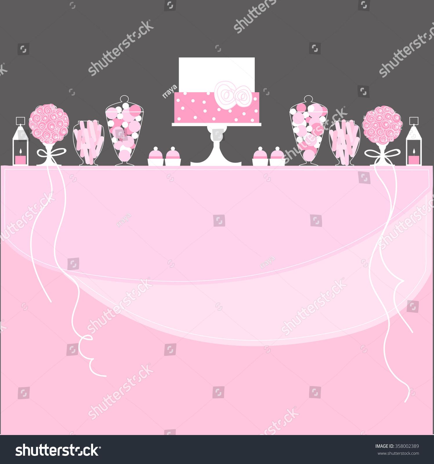 candy buffet cake lanterns flowers wedding stock vector