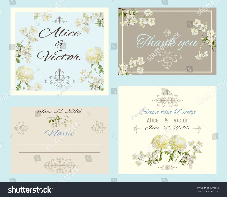 Vintage Elegant Wedding Invitation Cards Set Stock Photo (Photo ...