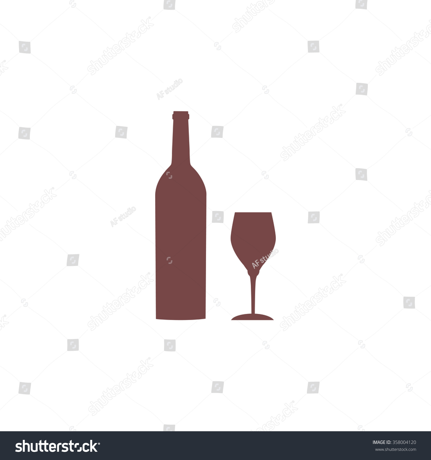 Bottle wine glass colorful vector icon stock vector 358004120 bottle of wine and glass colorful vector icon simple retro color modern illustration pictogram biocorpaavc Gallery