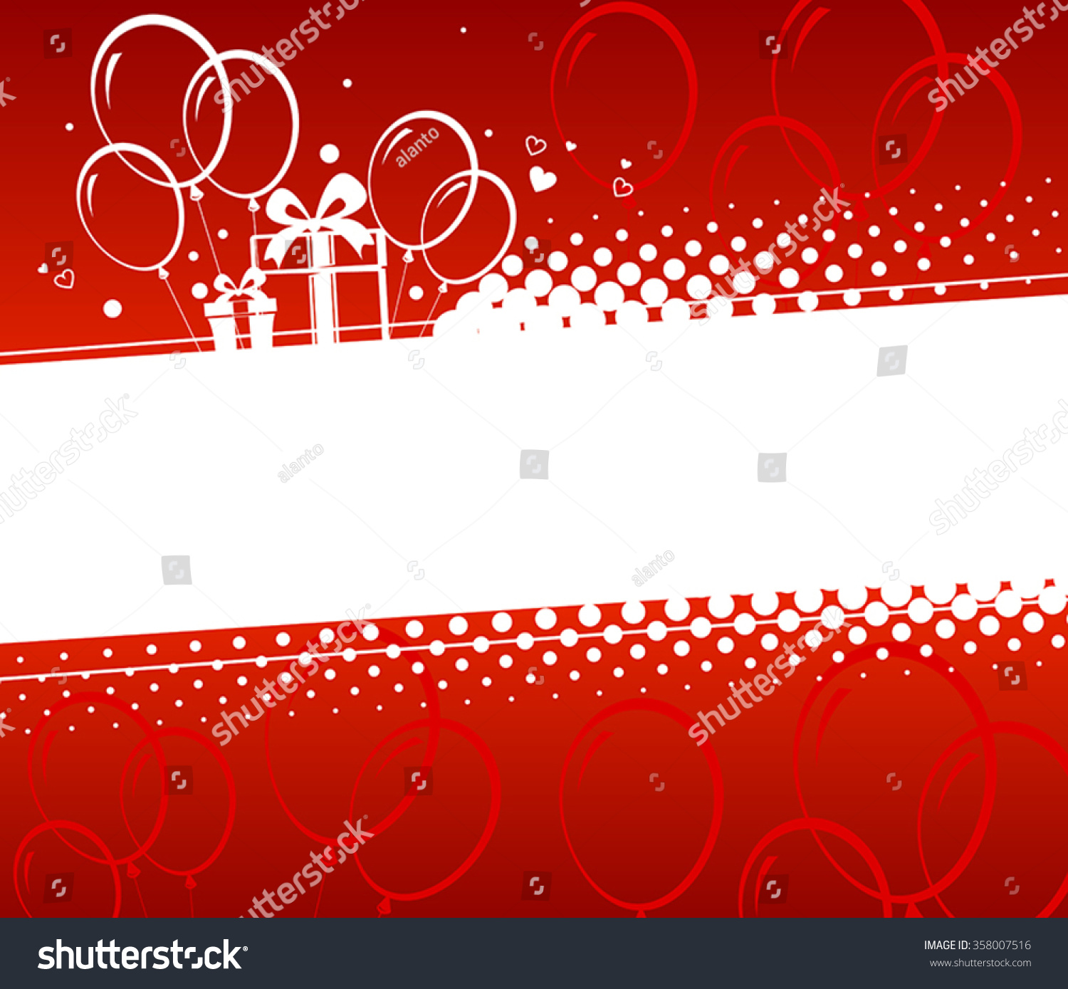 Birthday Background Silhouettes Gifts Balloons Stock