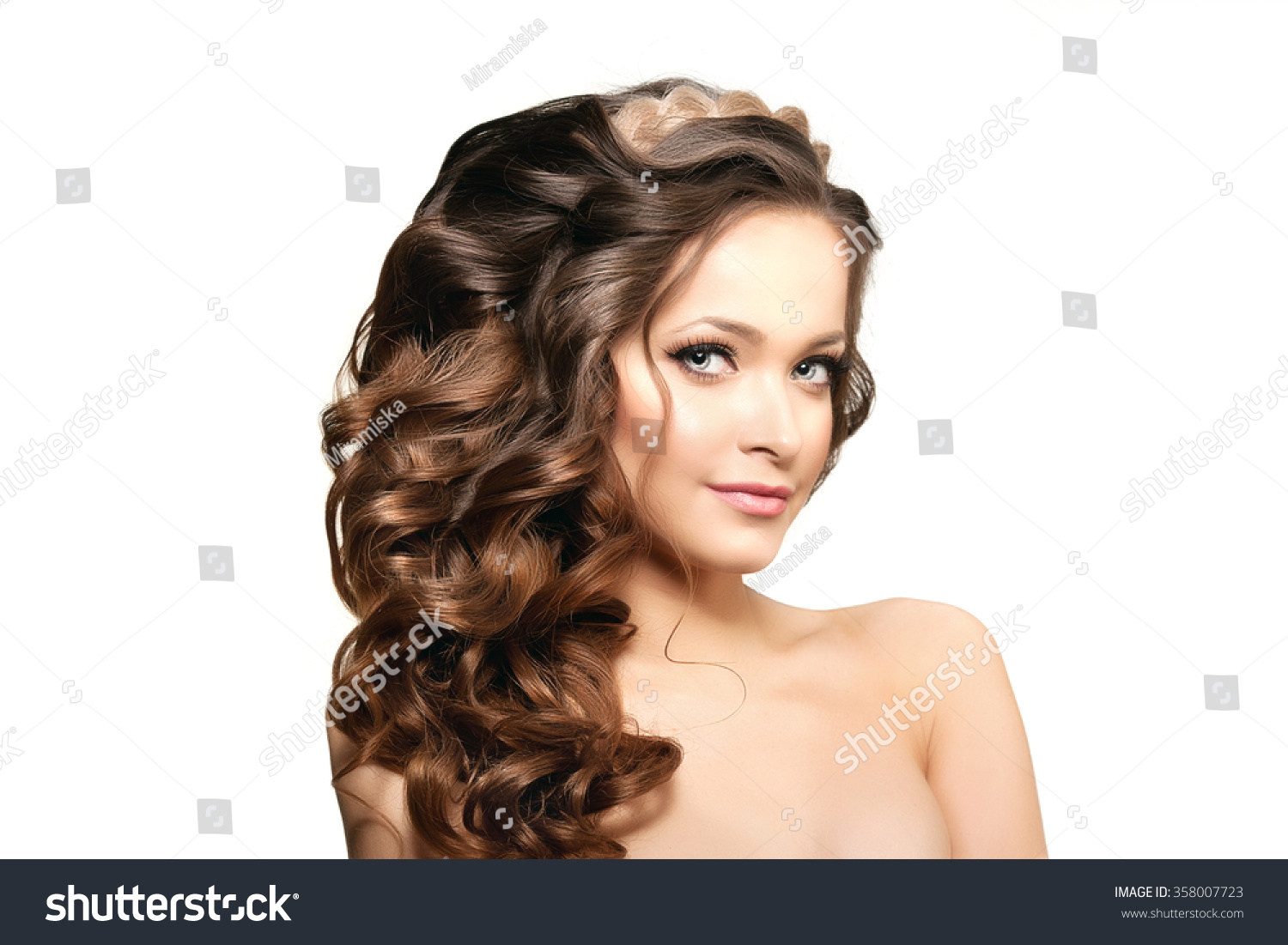 Hairstyles Female Hair Loss Model Long Hair Waves Curls Hairstyle Stock Photo 358007723