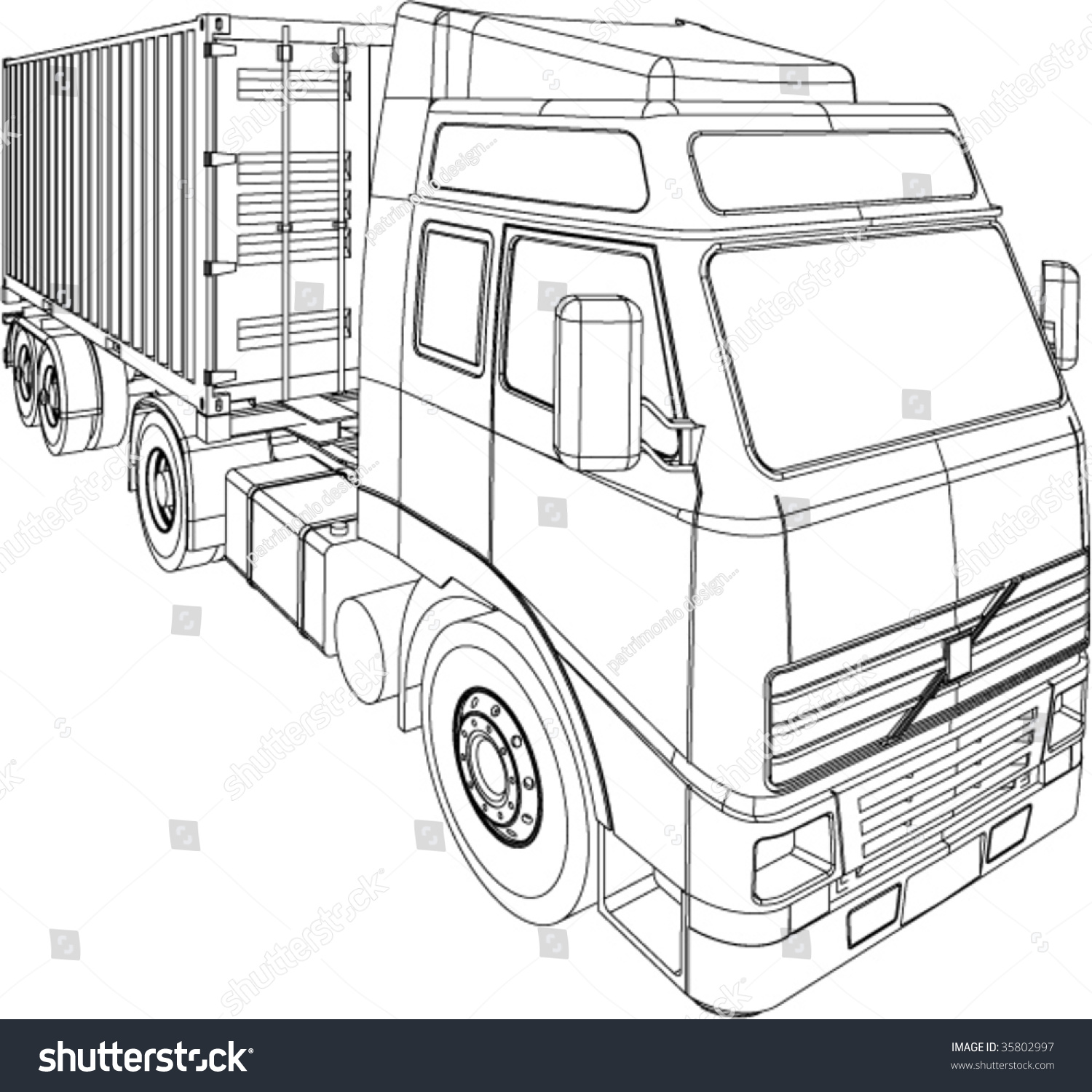 Line Art Truck : Container truck trailer line drawing isolated stock vector