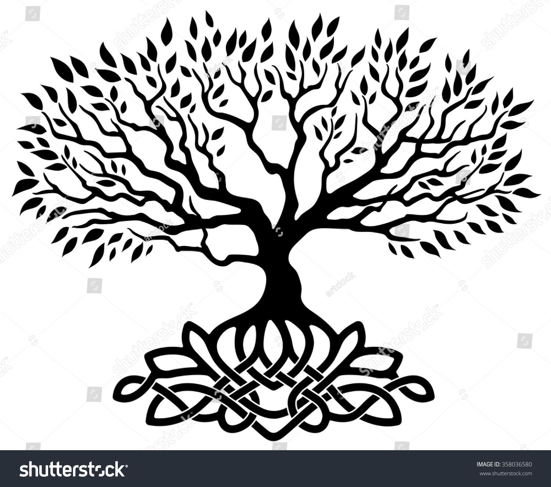 Vector Ornament Decorative Celtic Tree Life Stock Vector 358036580 ...