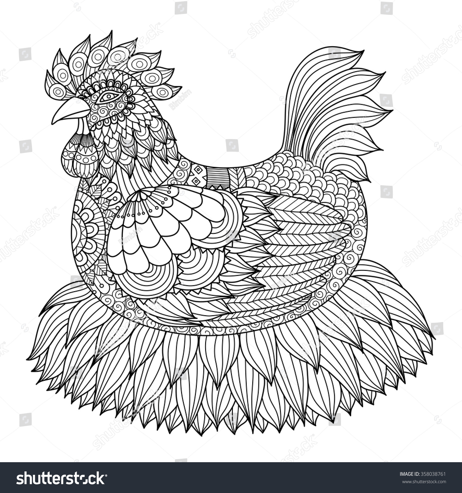 Zen colouring in book - Hand Drawn Zentangle Chicken For Coloring Book For Adult