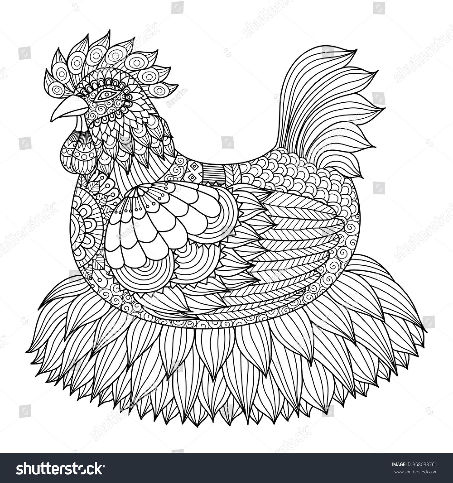 hand drawn zentangle chicken coloring book stock vector 358038761