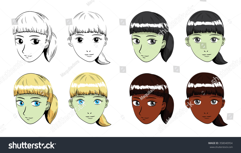 Manga Fringe Ponytail Hair Girl Stroke Stock Vector Royalty Free